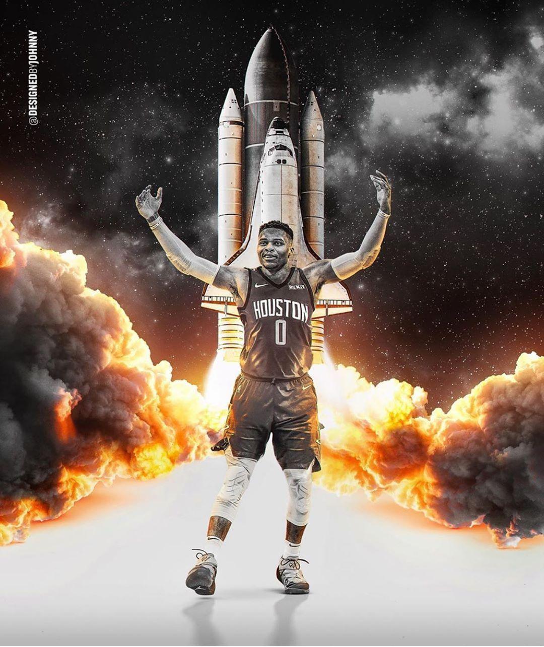 Houston Rockets This Week S Fanartfriday Featuring Russwest44 Keep Submitting Your Art Using Westbrook Wallpapers Houston Rockets Jordan Logo Wallpaper