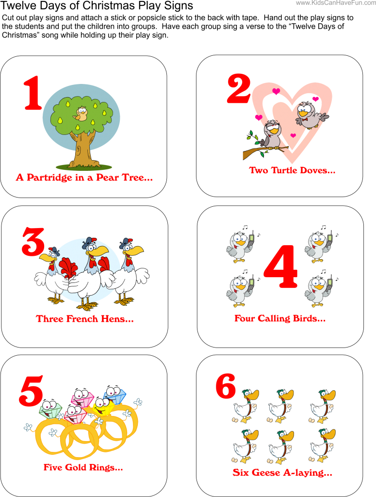 The Twelve Days of Christmas Activities, Sing-along Printables