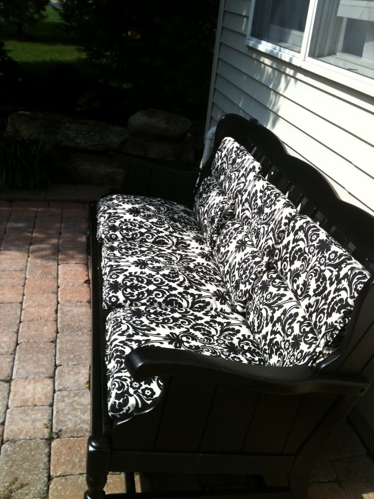 Repurposed Wooden Sofa Frame Spraypainted Black With