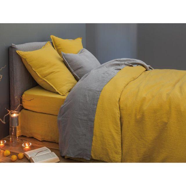 housse de couette lin lav uni safran blanc cerise fundas para cama y mas pinterest. Black Bedroom Furniture Sets. Home Design Ideas