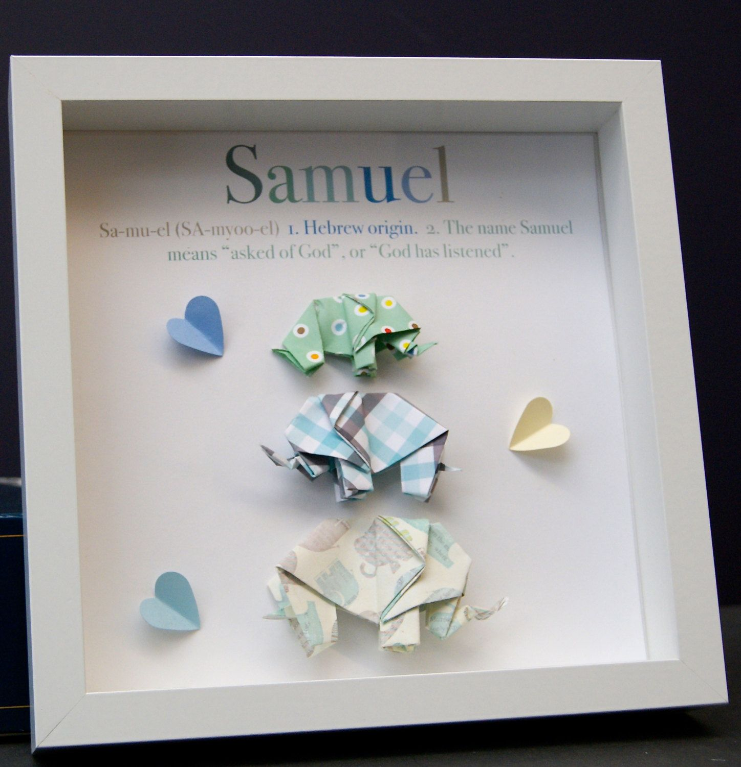 Personalized name paper origami elephants shadowbox custom newborn personalized name paper origami elephants shadowbox custom newborn baby shower gift by paintandpapercraft on etsy negle Image collections