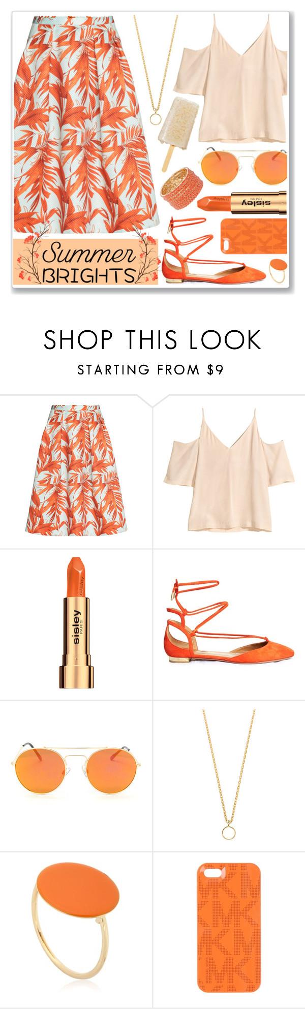 """Summer Brights: Orange"" by anamarija00 ❤ liked on Polyvore featuring H&M, Sisley, Aquazzura, Glenda López, Isabel Marant, Michael Kors and summerbrights"