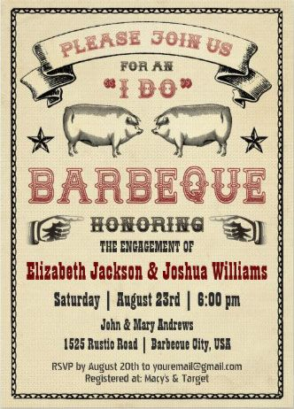 i do bbq vintage pig roast invitation i do bbq invitations i