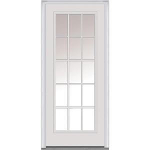 Ordinaire MMI Door 30 In. X 80 In. Clear Left Hand Full Lite Classic Primed  Fiberglass Smooth Prehung Front Door