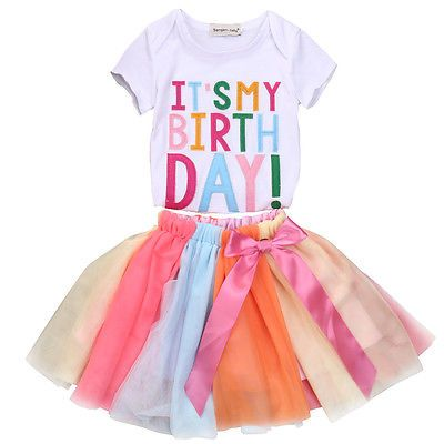 Baby Kids Girls Birthday Princess  Clothes Outfit Tutu Skirt Dress+Top Party Set