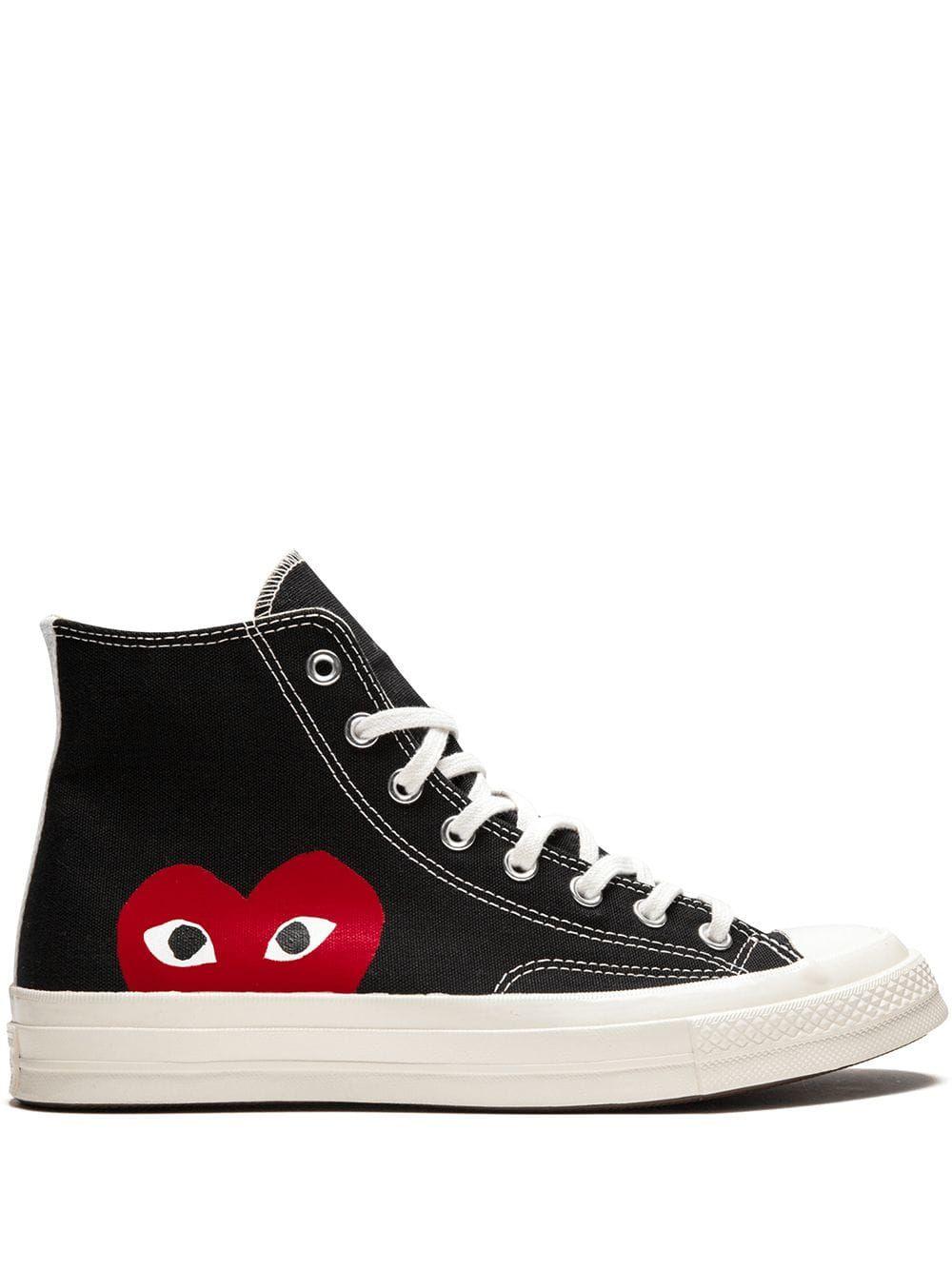 cdg black high top converse