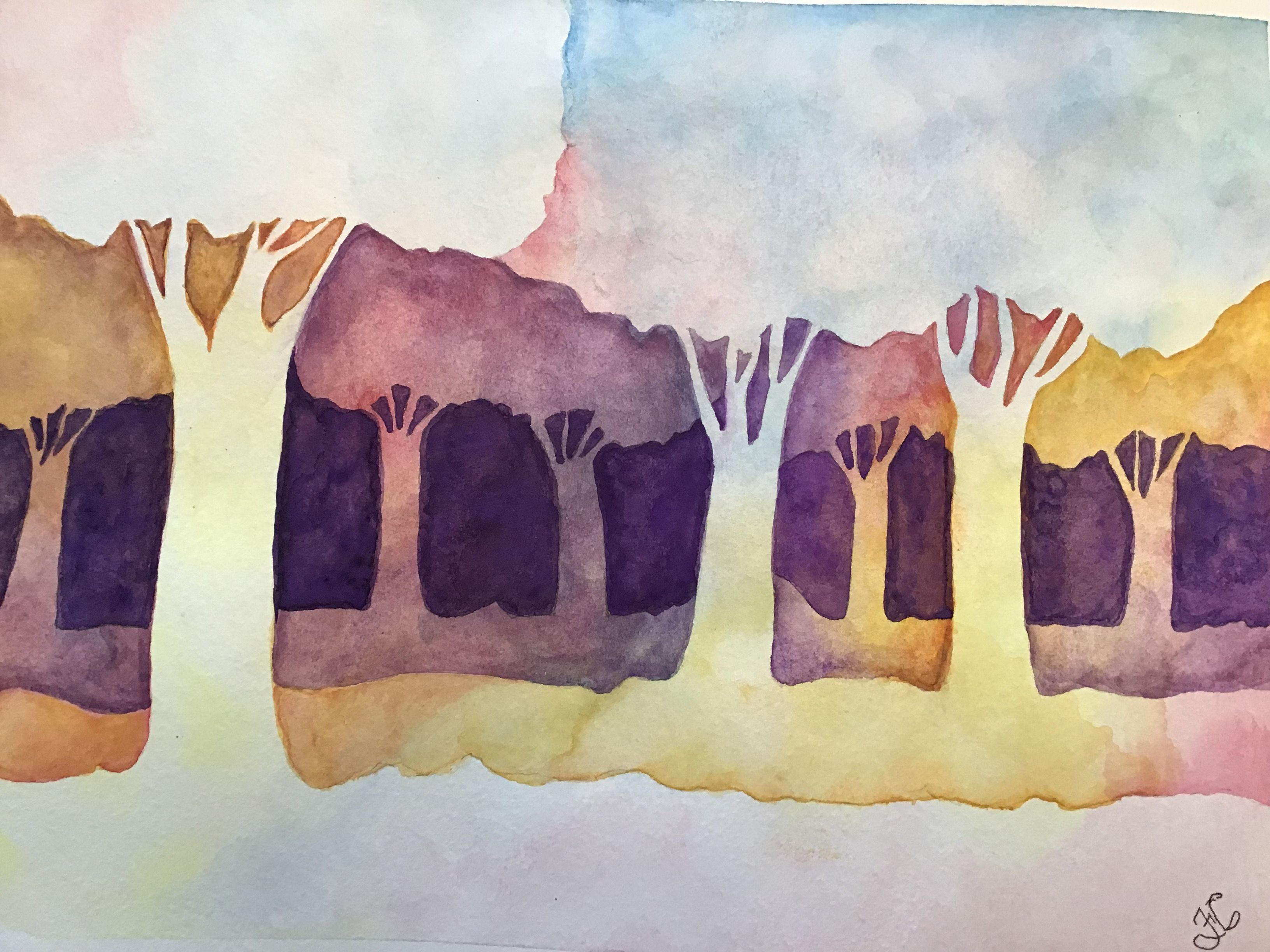 Aquarelle Foret Abstraite Painting Drawings Art