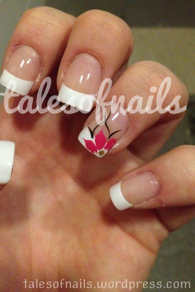 French Tip Flower Nail Designs   Best Nail Designs 2018