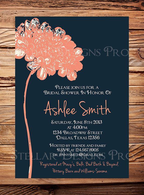 Bridal Shower Invitation, Flower Bridal or Wedding shower Invitation, Wedding Shower, Navy, Coral, Yellow, Blue, Green digital (6178)