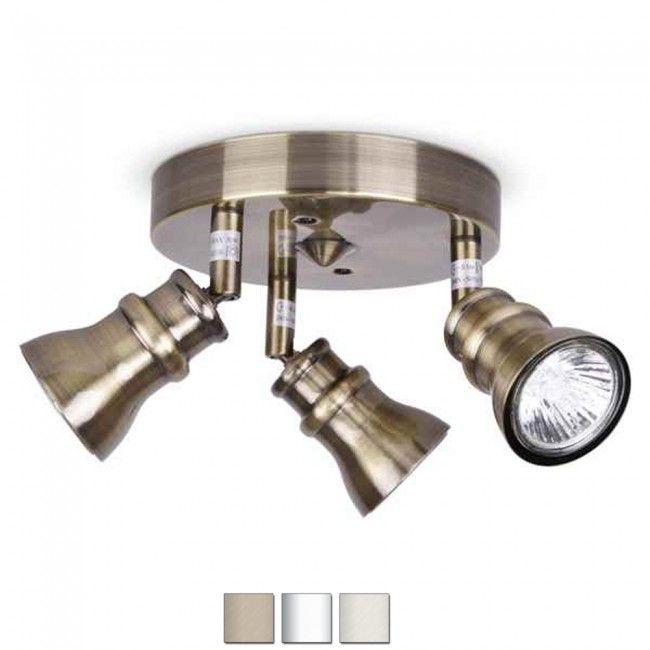 spotlights ceiling lighting. Antique Brass Gold 3 Way Round Halogen Ceiling Spot Light Spotlight Fitting In Home Furniture U0026 DIY Lighting Lights Chandeliers Spotlights L