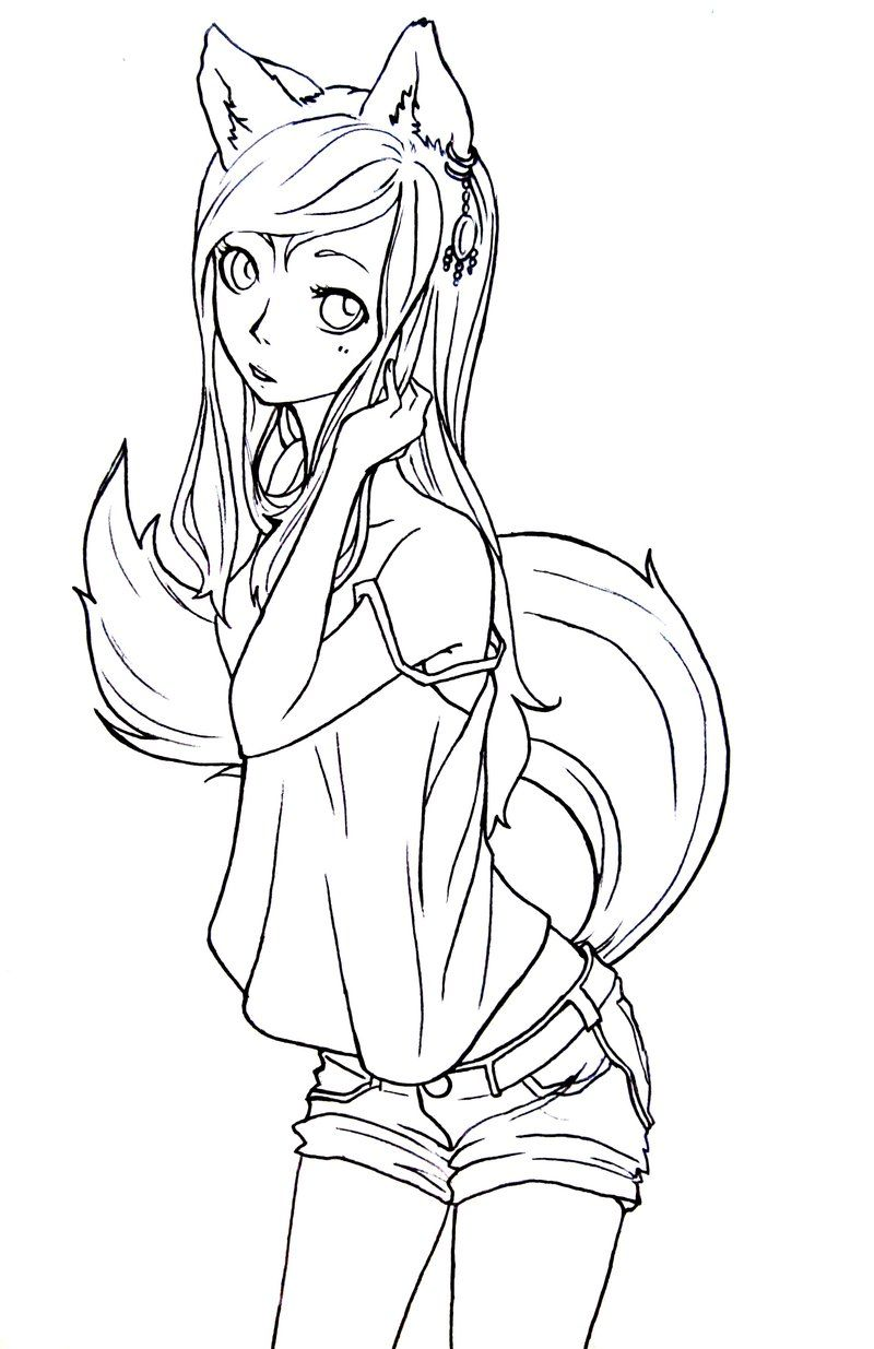 Fox girl lineart by komorinightdeviantart