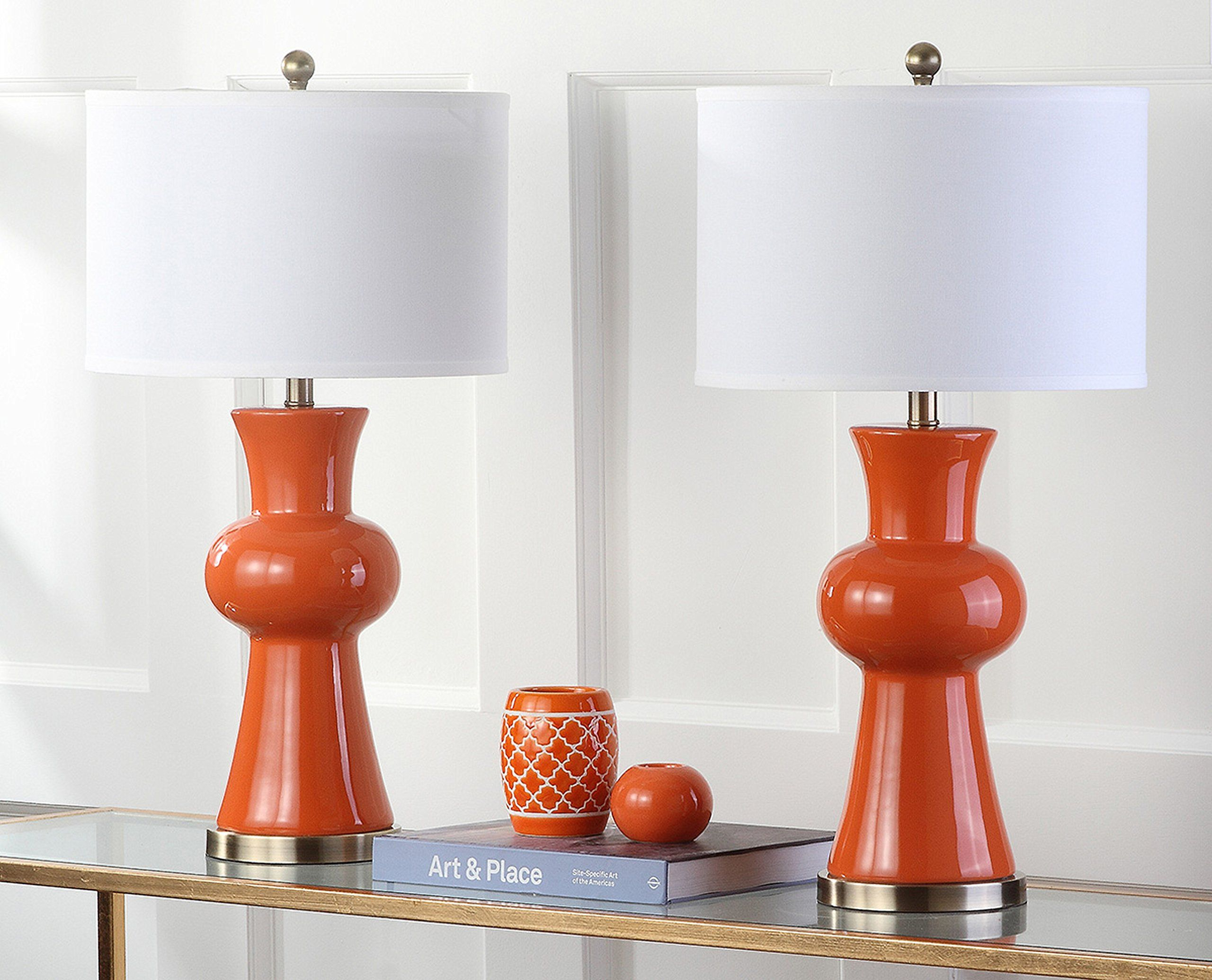 Safavieh Lighting Collection Lola Column Orange 30Inch Table Lamp Set