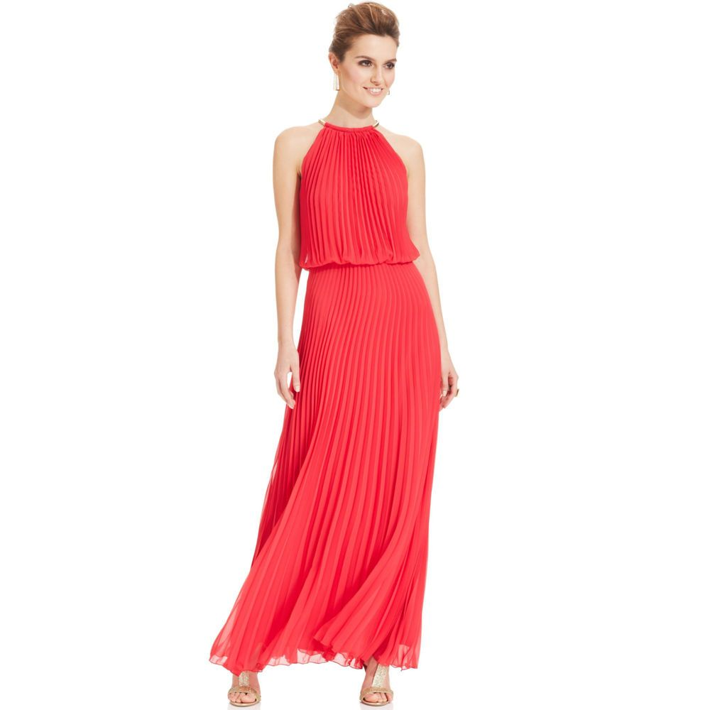 Xscape Pleated Halter Blouson Gown RED SIZE 4 #53   Gowns, Color red ...