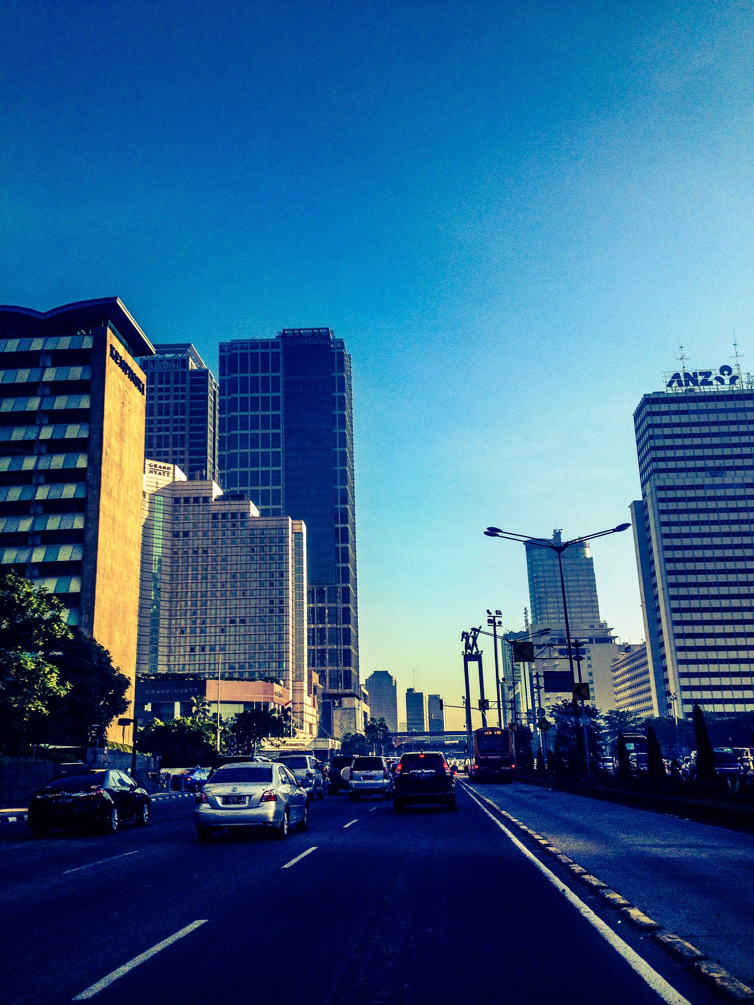 Sudirman street in the morning Indonesia