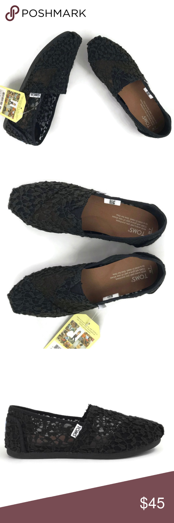 33b249d0bfce Toms Classic Shoes Black Lace Leaves Toms Classic Shoes Black Lace Leaves  Size 7 Women s NWT