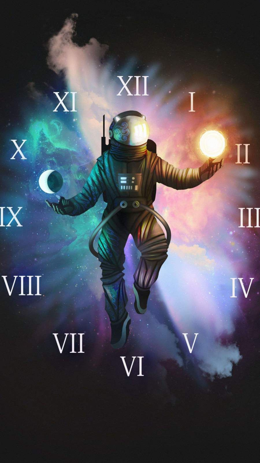 Astronaut Clock Iphone Wallpaper Astronaut Wallpaper Nasa Wallpaper Wallpaper Space