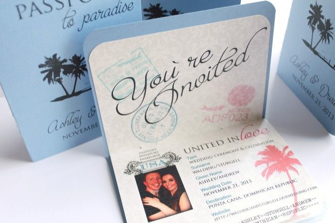 1000 images about Destination Wedding invitations – Passport Themed Wedding Invitations