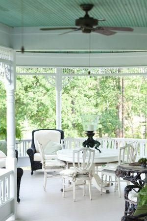 I wanted to paint my sunroom ceiling blue