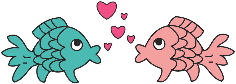 Image result for fish in love cartoon