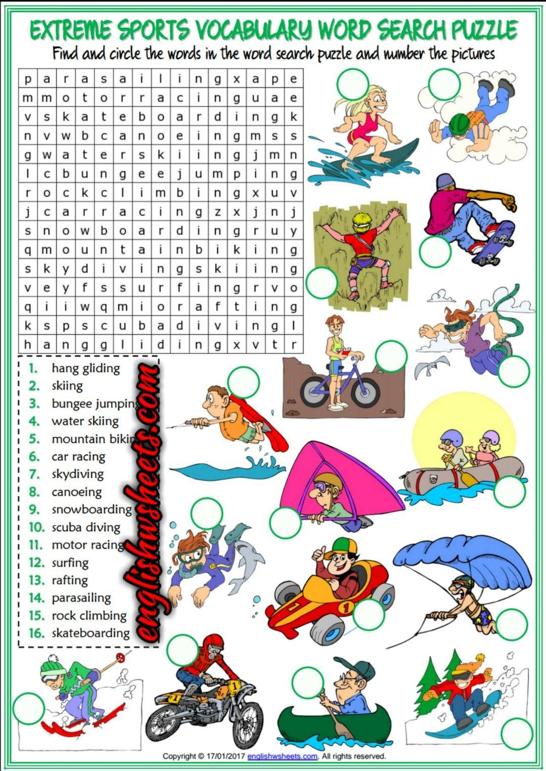 extreme sports esl printable word search puzzle worksheet for kids esl printable vocabulary. Black Bedroom Furniture Sets. Home Design Ideas