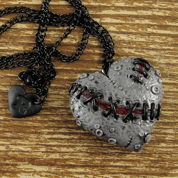 Stitched Zombie Heart Necklace by rapscalliondesign