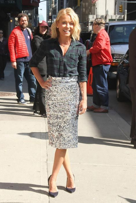 """Kelly Ripa arriving at """"The Late Show With David Letterman"""" in 2015..."""