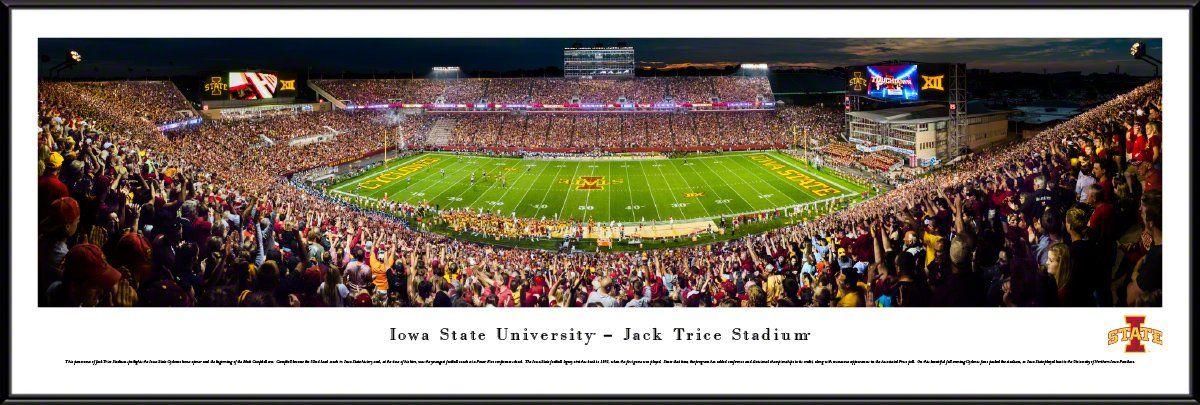 Iowa State Football Stadium 50 Yard Line Panorama Framed Print