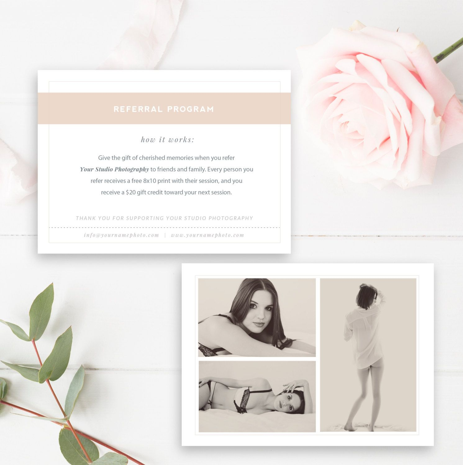 Boudoir Photography Referral Card - Photoshop Template
