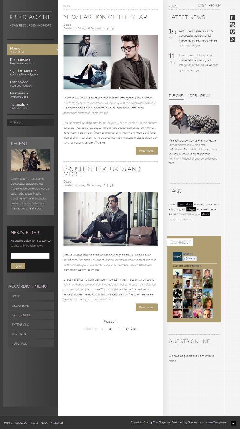 """""""Blogazine"""" #Joomla template was designed for any #blog or #magazine style website that primarily focuses on content."""