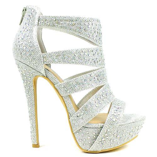 aa17e566c6b Open-toe silver heels with hidden platform and rhinestones