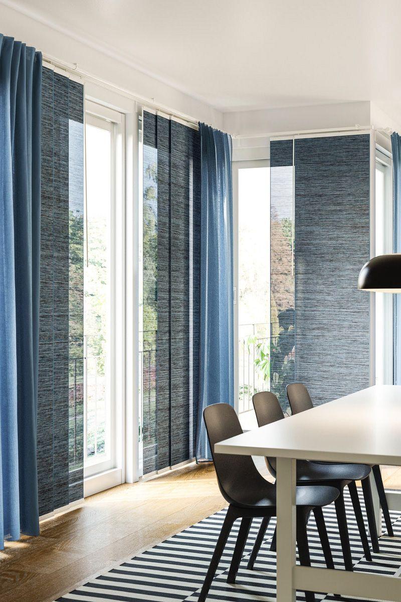 Fonsterviva Schiebegardine Blau Grau Ikea Deutschland Wohnung Vorhange Gardinen Wohnzimmer Modern Fensterdekoration