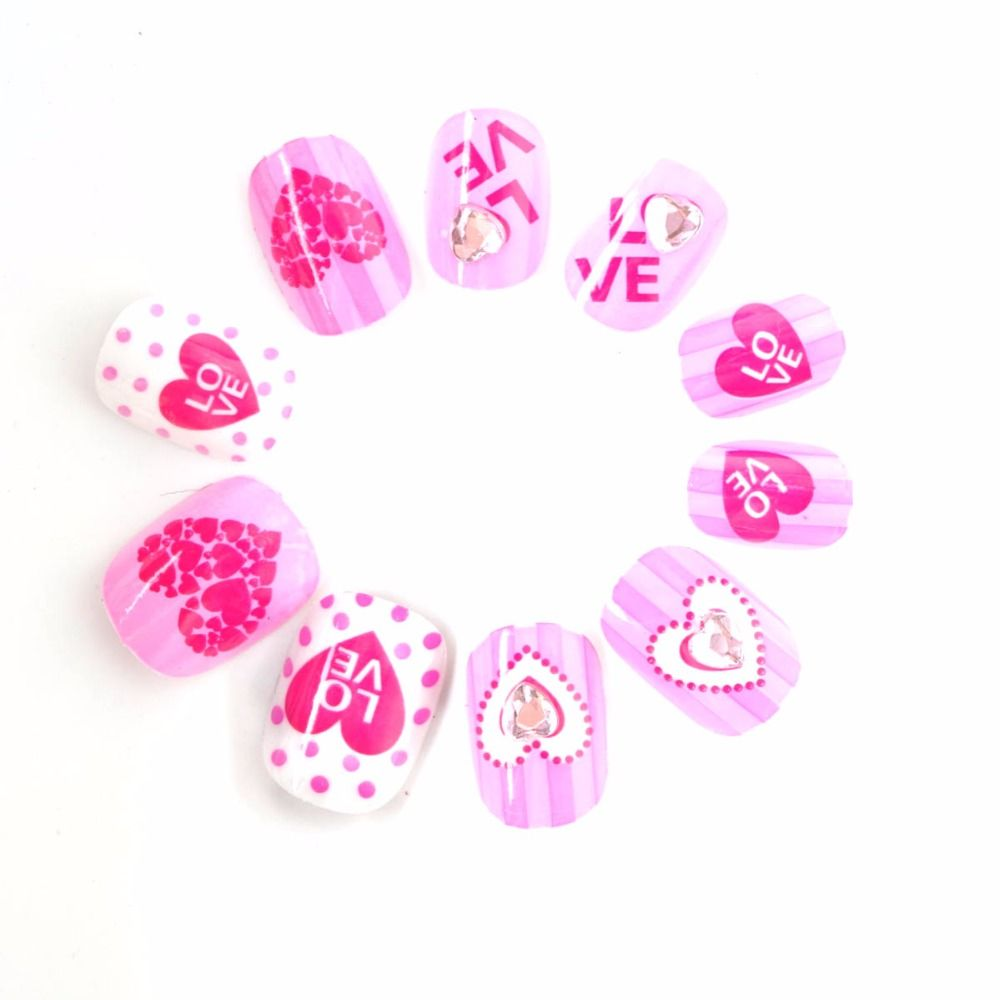 Hot Spots and Love Hearts Children Fake Nails 20 Pcs Pink ...