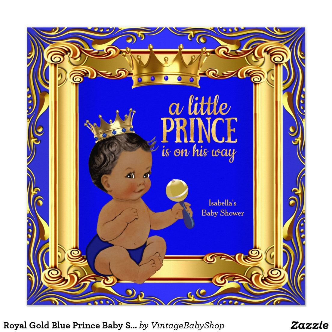 Royal Gold Blue Prince Baby Shower Ethnic Invitation | Prince Baby ...
