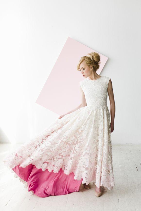 Stunning lace wedding dress with a pink underlay | Wedding Dresses ...