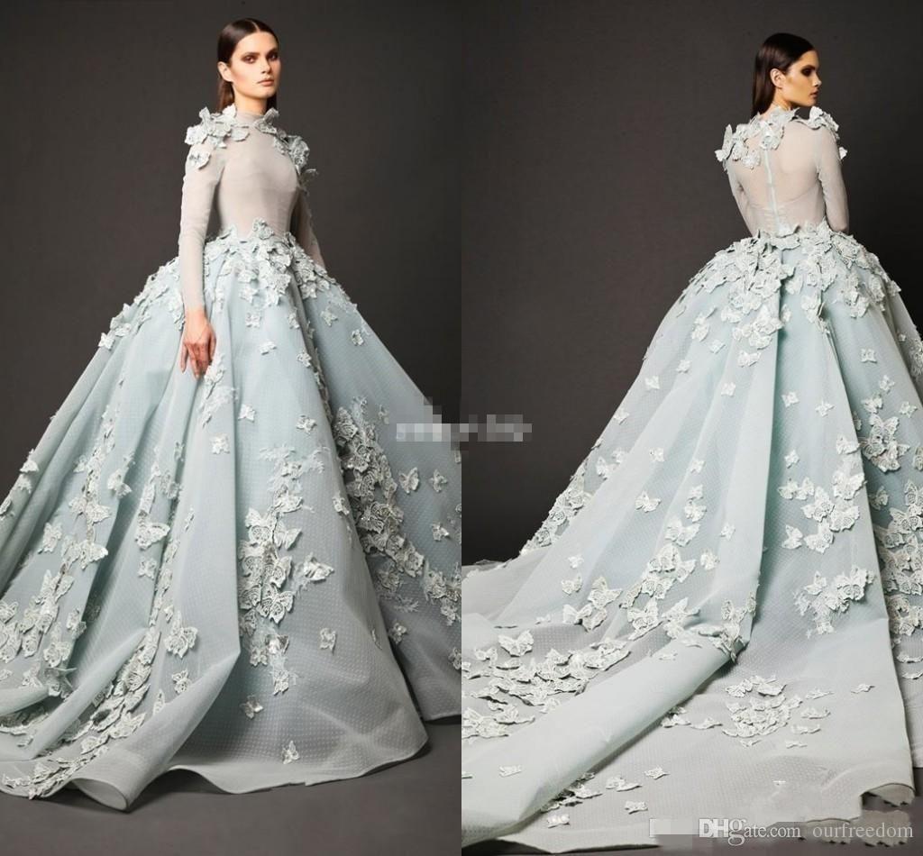 winter zuhair murad evening dresses long sleeve high neck ball