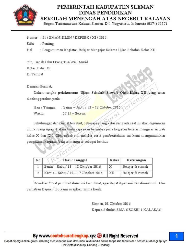 7 Contoh Surat Pemberitahuan Sekolah Untuk Kegiatan Pembayaran Ujian Perpisahan Surat Sekolah Ekstrakurikuler