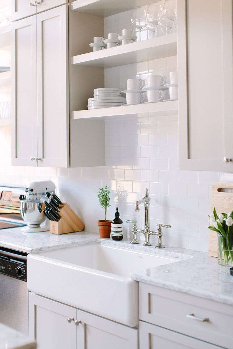 Office Kitchen Makeover | White dishes, Open shelving and Faucet