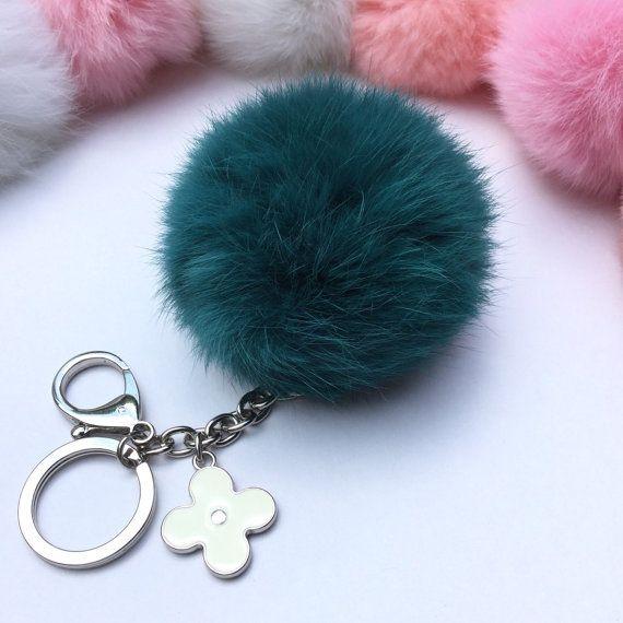 642ad7f0621 Silver Summer Series Emerald fur pompom keychain by YogaStudio55 ...