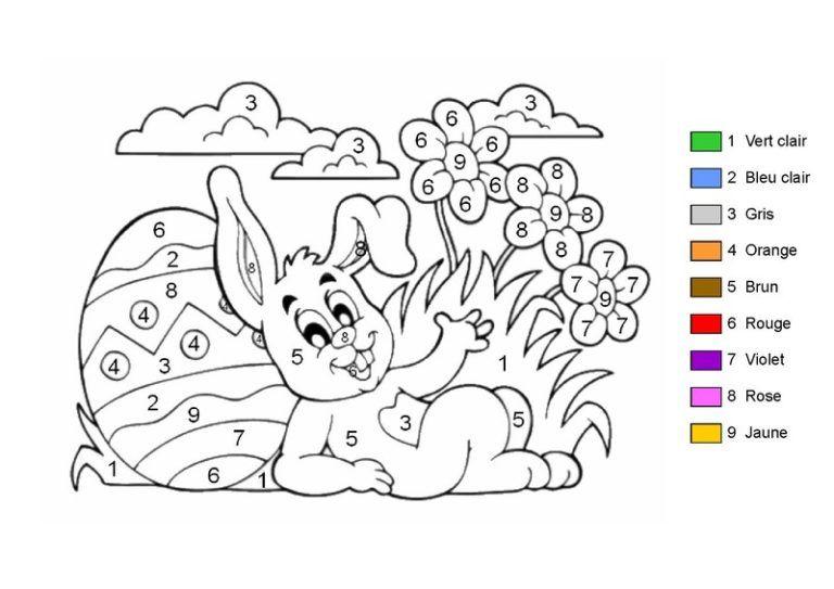 pâques  coloriage coloriage codé coloriage gratuit