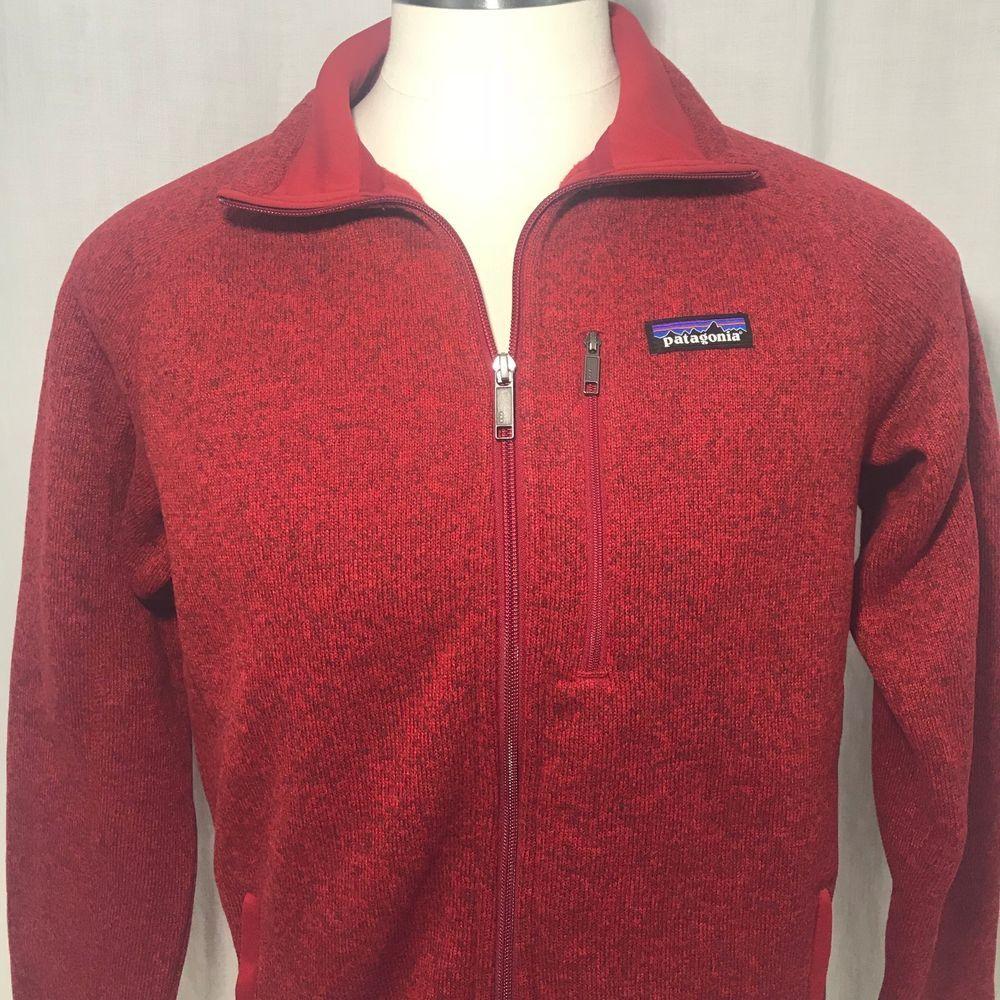 Patagonia mens better sweater fleece jacket m classic red full zip