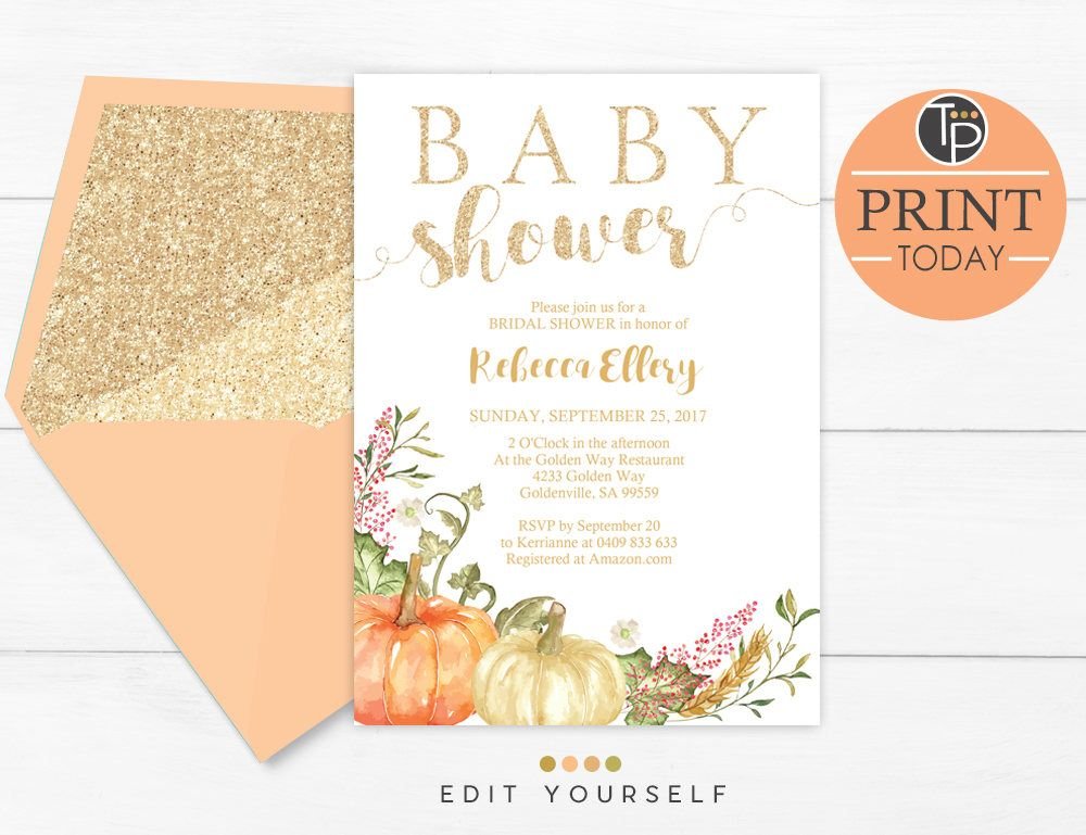Fall Baby Shower Invitations Pumpkin Baby Shower Invitations