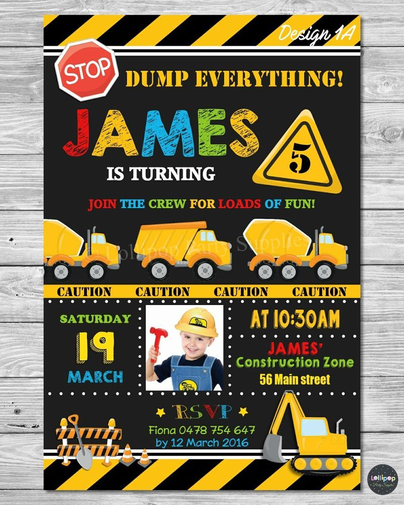 Construction invitation invite card birthday party transportation