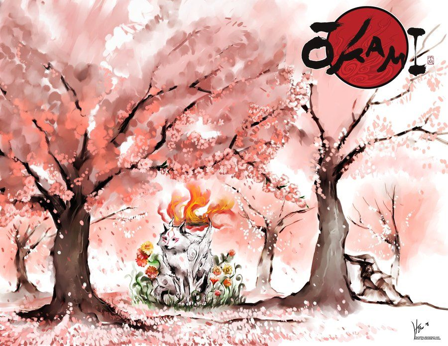 Under Sakura Trees Okami Amaterasu Owari No Seraph Video Game