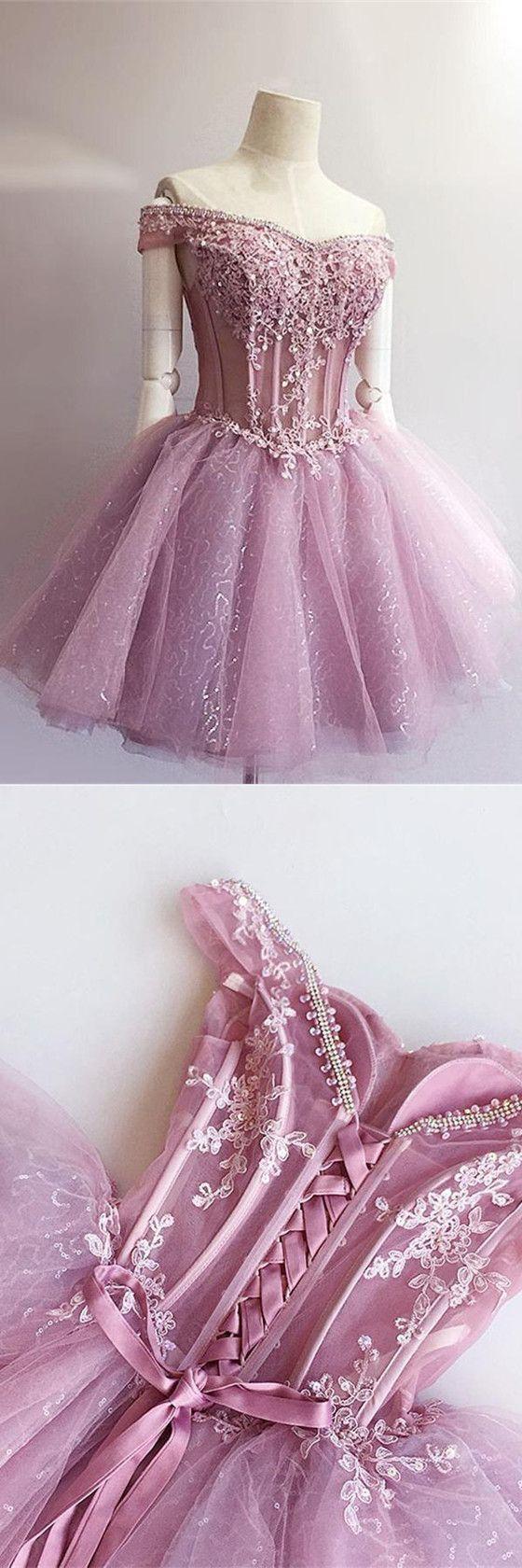 Charming aline offshoulder lace appliques short homecoming dresses