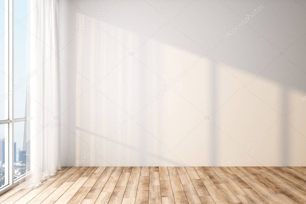 Modern Light Empty Room With Blank White Wall Wooden Floor And