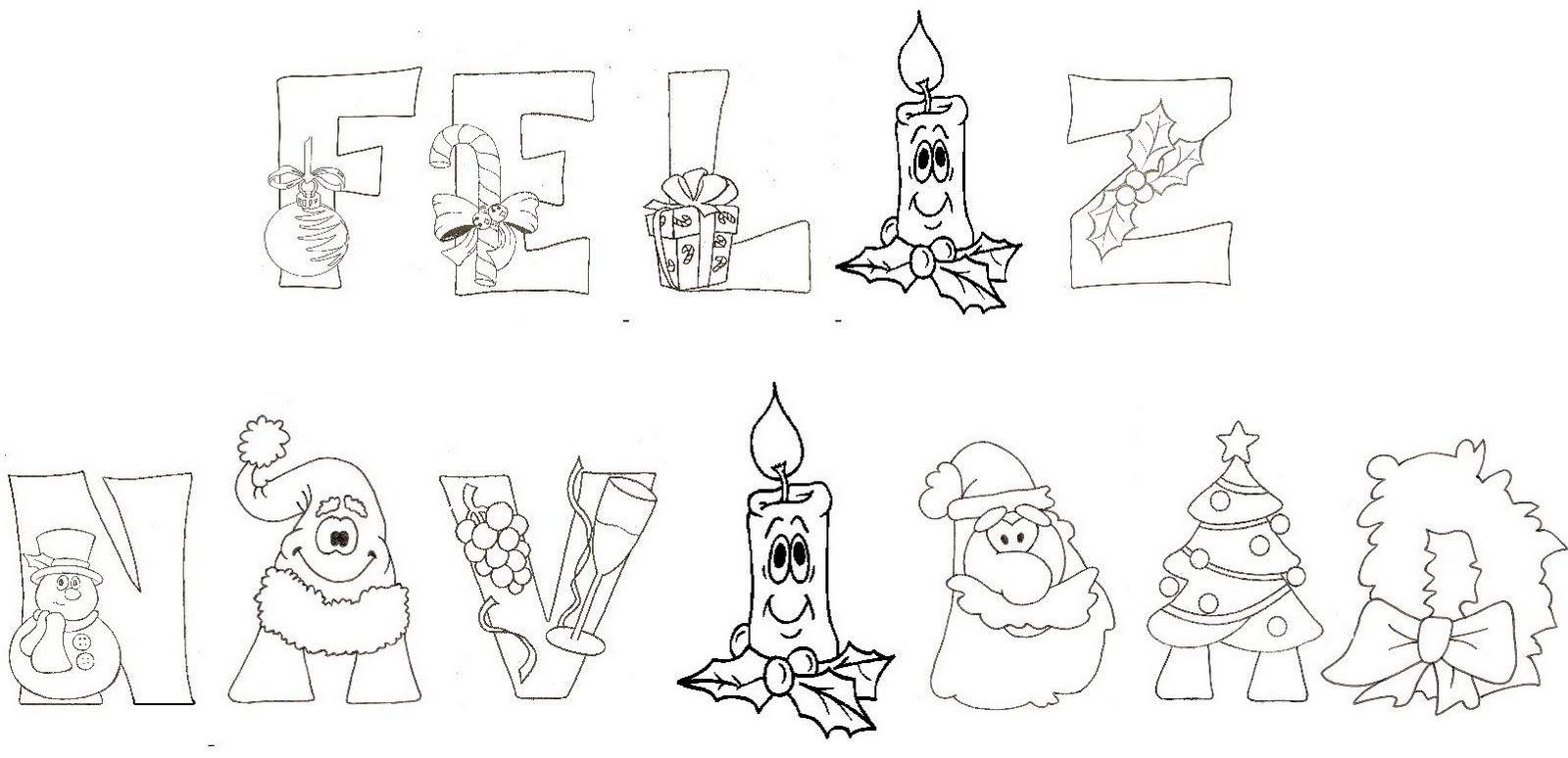 letras de feliz navidad para colorear   Buscar con Google