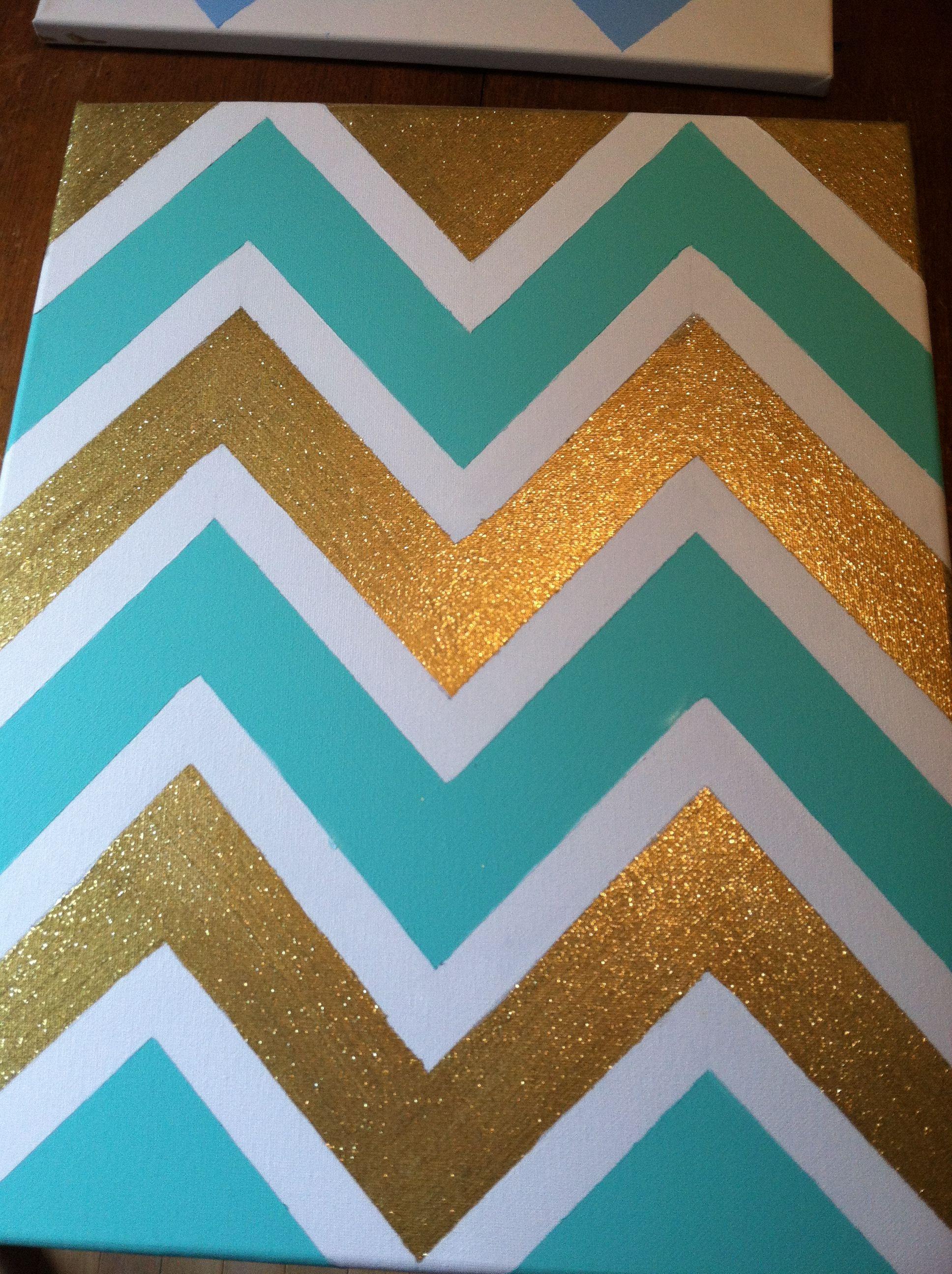 Chevron glitter gold white mint canvas diy with