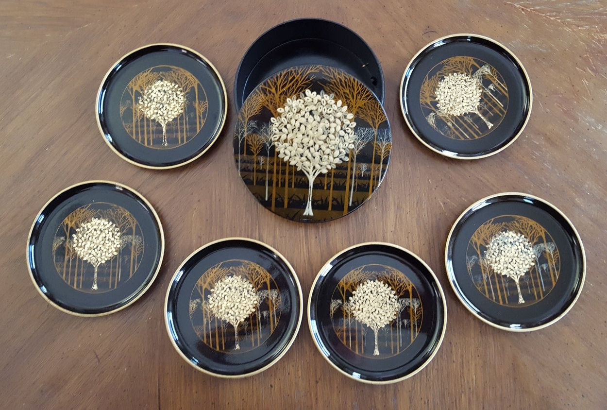 Vintage Otagiri Japan Coasters- Set of Six in Storage Box- Black with Gold- Golden Mist by PreteritHome on Etsy