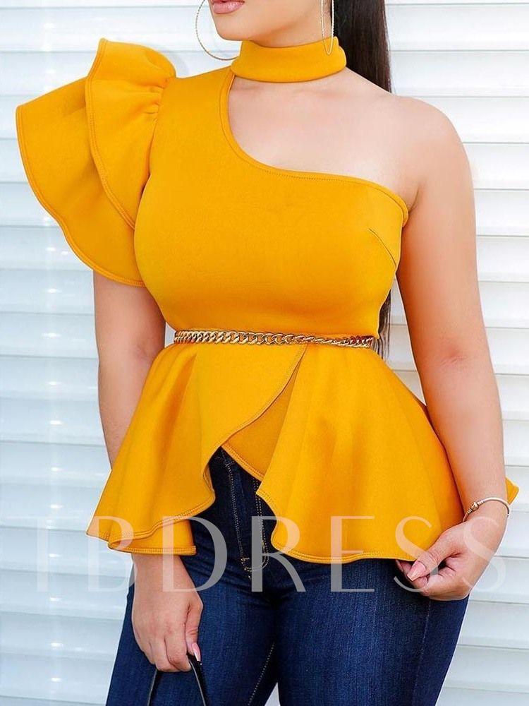 Ruffle Sleeve Stand Collar Plain Asymmetric Swallo