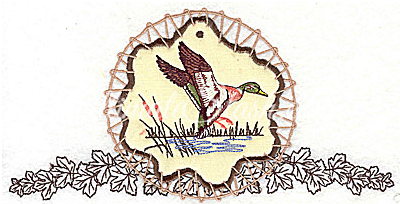 Duck on applique with leaves